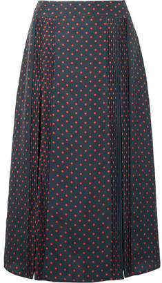 Burberry Pintucked Polka-dot Silk Midi Skirt