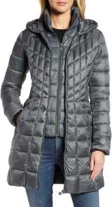 Bernardo Packable Hooded PrimaLoft(R) Fill Coat with Contrast Inset Bib