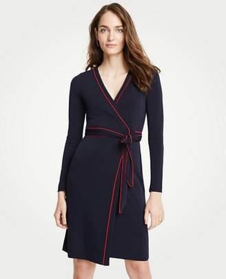 Ann Taylor Petite Piped Wrap Dress