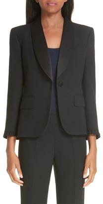 Michael Kors Ruffle Cuff Double Crepe Sable Tuxedo Jacket