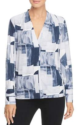 Kenneth Cole Abstract Print V-Neck Top