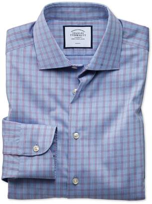 Charles Tyrwhitt Slim Fit Business Casual Non-Iron Blue Windowpane Check Cotton Dress Shirt Single Cuff Size 15/32