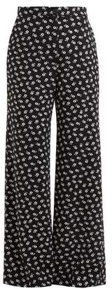 ALEXACHUNG Floral Print Wide Leg Crepe Trousers - Womens - Black White