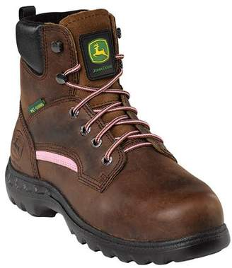 John Deere Women's STEEL TOE Brown Work Boot 6 M