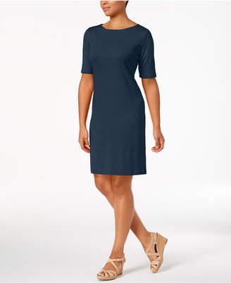 Karen Scott Petite Cotton Boat-Neck Shift Dress, Created for Macy's