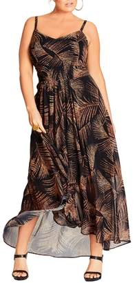 City Chic Party Time Print Chiffon Maxi Dress
