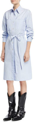 Calvin Klein Button-Front Long-Sleeve Poplin Shirtdress