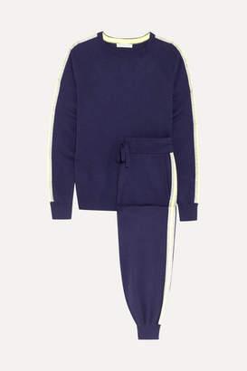 Olivia von Halle - New York Striped Silk-blend Sweatshirt And Track Pants Set - Navy