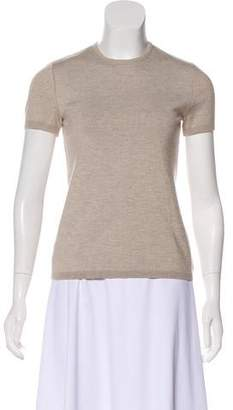 Oscar de la Renta Short Sleeve Cashmere & Silk-Blend Top