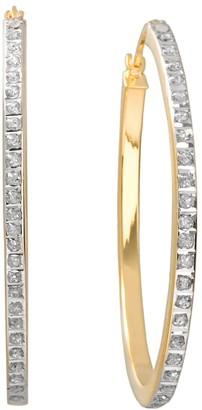 Mystique Diamond 18k Gold Over Silver Oval Hoop Earrings