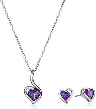 Amethyst Hearts Pendant Necklace and Earrings Jewelry Set in Sterling Silver