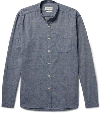 Oliver Spencer Slim-Fit Grandad-Collar Checked Cotton-Flannel Shirt