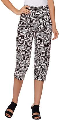 Susan Graver Printed Stretch Woven Zip Front Capri Pants
