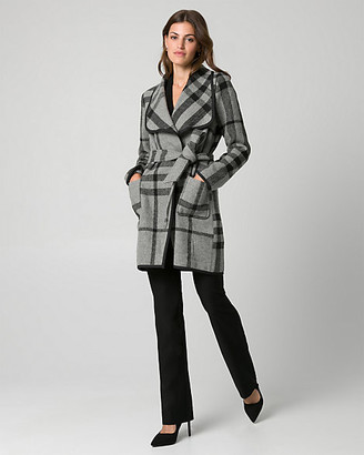 Le Château Check Print Wool Blend Open Collar Coat