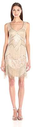Adrianna Papell Women's Sleeveless Beaded Cocktail Dress with Fringe