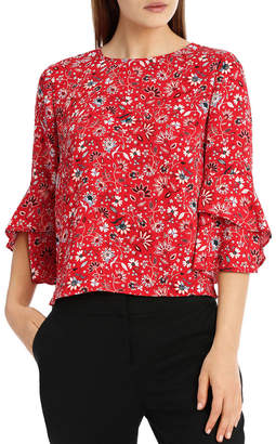 Miss Shop Statement Sleeve Shell Top - Paisley