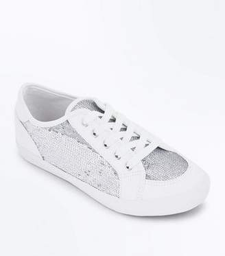 New Look Wide Fit White Sequin Panel Trainers