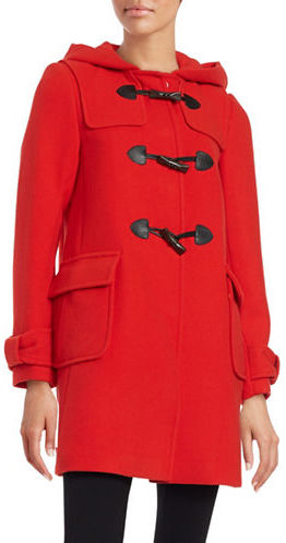Kate Spade Kate Spade New York Hooded Wool-Blend Mid Length Toggle Coat