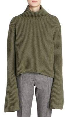 Stella McCartney Rib-Knit Wool& Cashmere Turtleneck Sweater