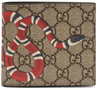 92023ab473d44d Gucci Gg Supreme And Kingsnake Print Bi Fold Wallet - Mens - Brown