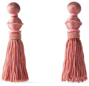 Oscar de la Renta Gold-Tone Cord And Bead Tassel Clip Earrings