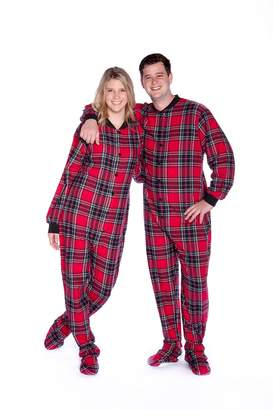 Co Big Feet Pajama & Black Plaid Cotton Flannel Adult Footie Oneie Footed Pajama with Dropeat