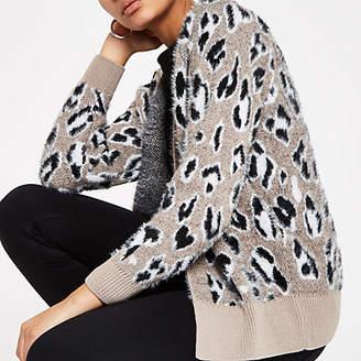 River Island Grey leopard print fluffy knit cardigan