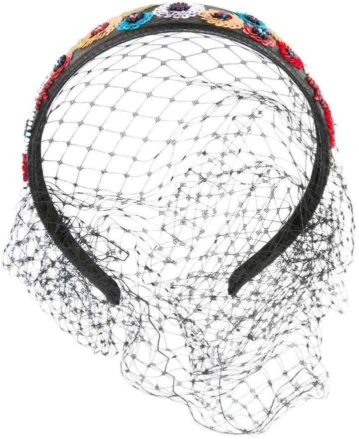 RED ValentinoRed Valentino floral sequin netted headband