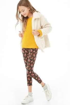Forever 21 Girls Floral Knit Leggings (Kids)
