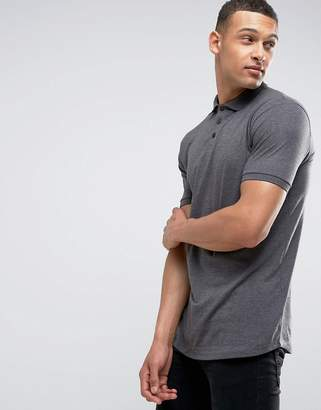 Asos DESIGN polo shirt in jersey with curved hem in charcoal marl