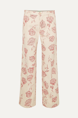 Aries Floral-print High-rise Straight-leg Jeans - Pink