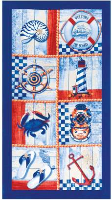Dohler Nautical Vintage Terry Velour Oversized Beach Towel