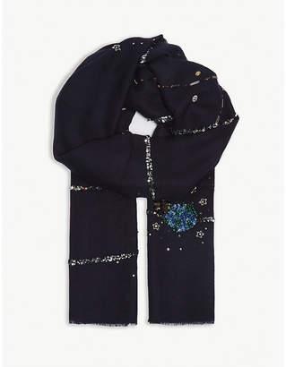 Janavi Stargazing embellished cashmere scarf
