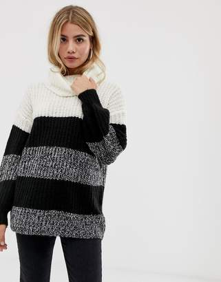 Brave Soul roll neck sweater in wide stripe