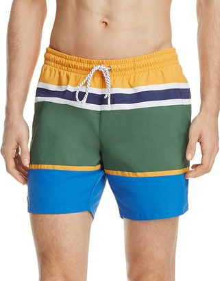 Lacoste Engineer Stripe Swim Trunks $95 thestylecure.com