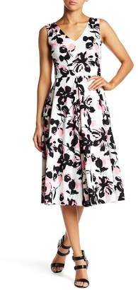 Love...Ady Double V Floral Print Flare Hem Dress