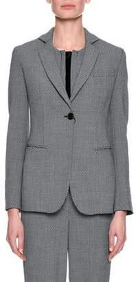 Giorgio Armani Herringbone One-Button Suiting Jacket, Gray