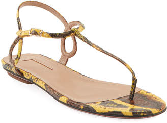 Aquazzura Almost Bare Snakeskin Flat Sandals