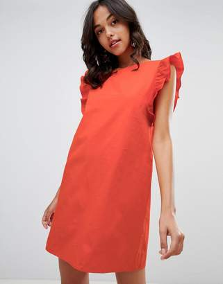 Vila Ruffle Sleeve Shift Dress