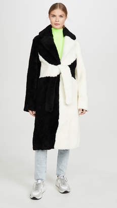 Saks Potts Shearling Colorblock Coat