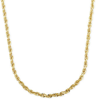 """Italian Gold Rope Chain 24"""" Necklace (3mm) in Solid 14k Gold"""