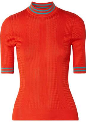 Fendi Cable-knit Silk Turtleneck Sweater - Orange