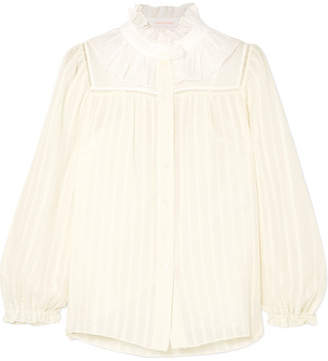 See by Chloe Ruffle-trimmed Striped Cotton-blend Jacquard Blouse - White
