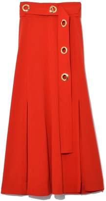Derek Lam 10 Crosby Belted Midi Skirt with Slits in Poppy