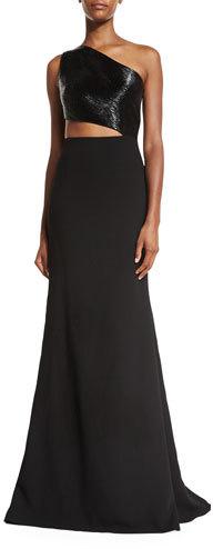 Carmen Marc ValvoCarmen Marc Valvo One-Shoulder Asymmetric Beaded Crepe Gown, Black
