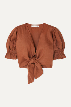 Faithfull The Brand Jamais Cropped Tie-front Linen Top - Brown