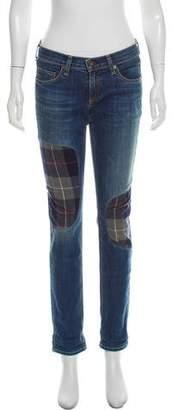 Rag & Bone Flannel-Patch Low-Rise Jeans