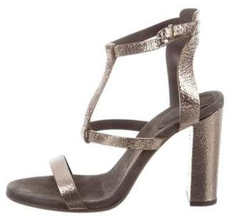 Brunello Cucinelli Metallic T-Strap Sandals w/ Tags