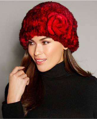 The Fur Vault Rosette Knitted Rex Rabbit Fur Hat