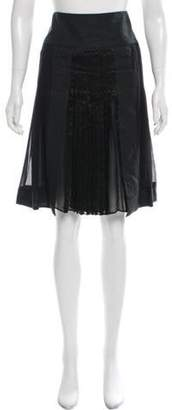 Etro Silk Pleaded Knee-Length Skirt Black Silk Pleaded Knee-Length Skirt